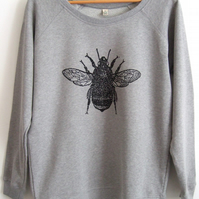 Bumble Bee Womens light grey raglan sweatshirt organic cotton Big Bee print
