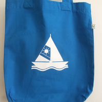 SailBoat print organic cotton printed tote bag bright blue