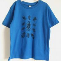 Beetles Bugs  kids bright blue organic T shirt 3-4yrs