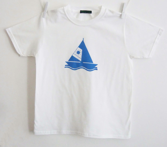 Sail Away  kids organic white T shirt size 5-6 years