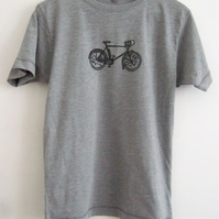 Racing bike Mens printed grey ethical T shirt