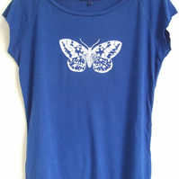 White Moth womens bright blue printed raglan T shirt bamboo and organic cotton