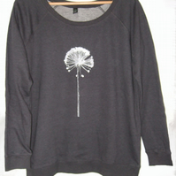 Womens Dark grey organic cotton raglan jumper silver Allium print