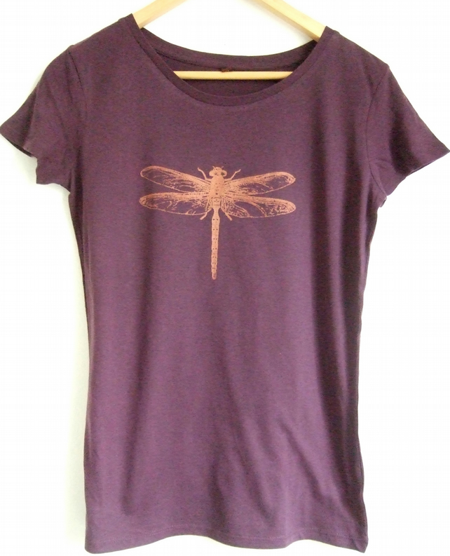 copper dragonfly womens eggplant fitted short sleeve cottonT shirt