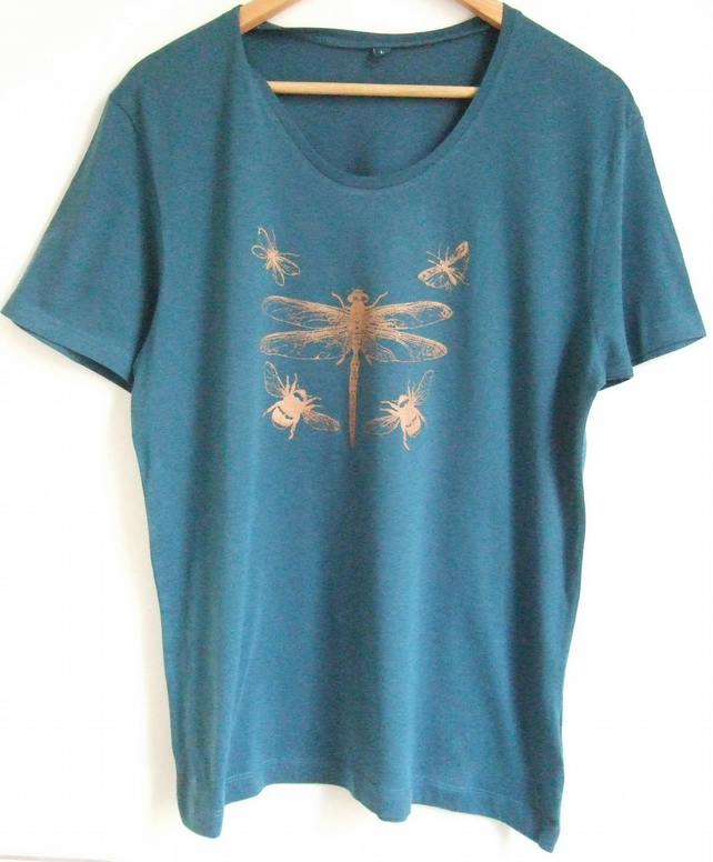Dragonfly insects teal with bronze print scoop neck t shirt short sleeve