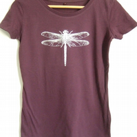 silver dragonfly womens eggplant short sleeve cotton T shirt