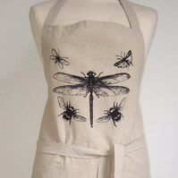 Dragonfly Insects hand printed linen apron