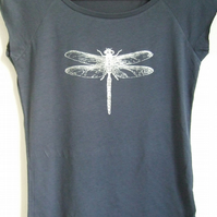 Silver Dragonfly womens printed T shirt denim blue bamboo and  organic cotton