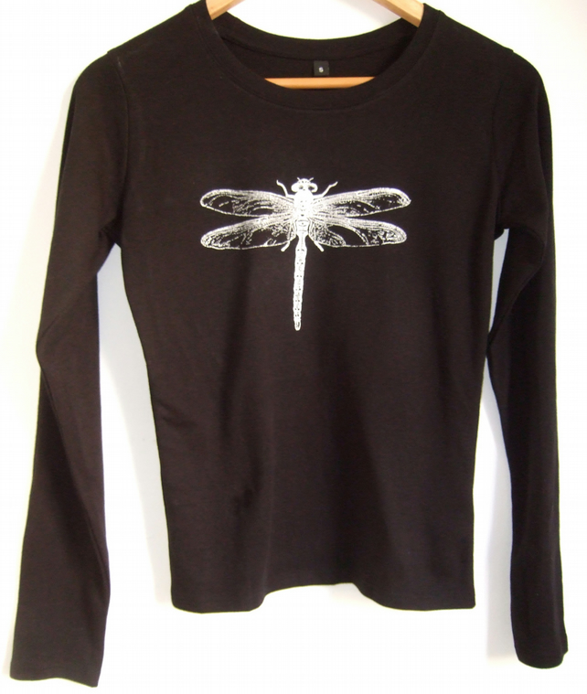 Dragonfly womens black long sleeve  cotton T shirt silver print size small