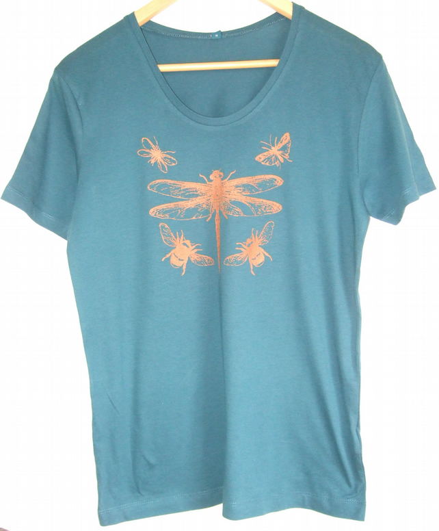 Dragonfly insects teal T shirt copper print scoop neck short sleeve