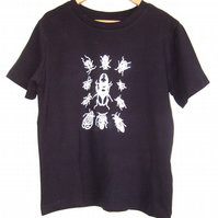 Bugs  Kids Tee navy blue organic cotton T shirt  white print size 5-6 years