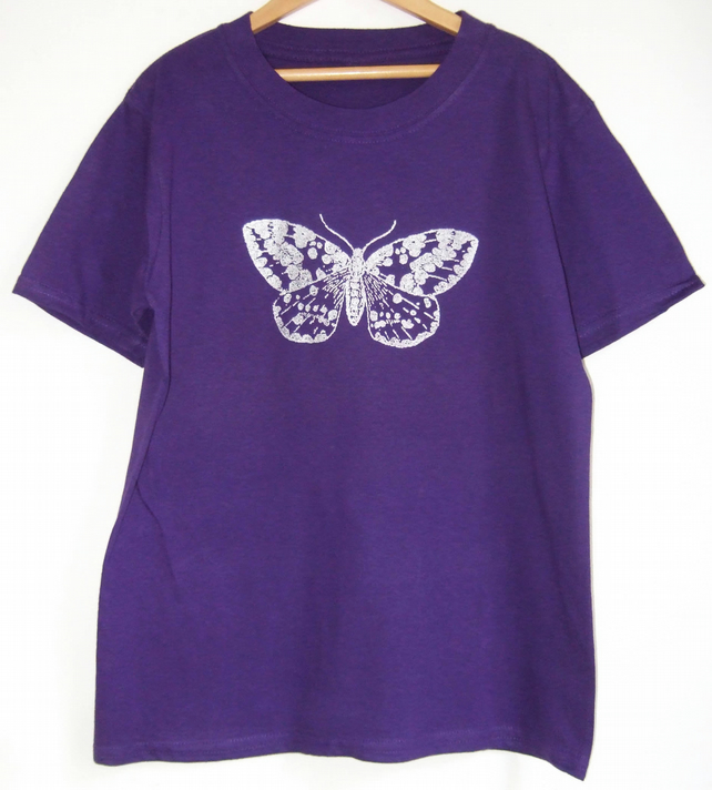 Silver Moth Girls purple cotton Tee age 7-8 years