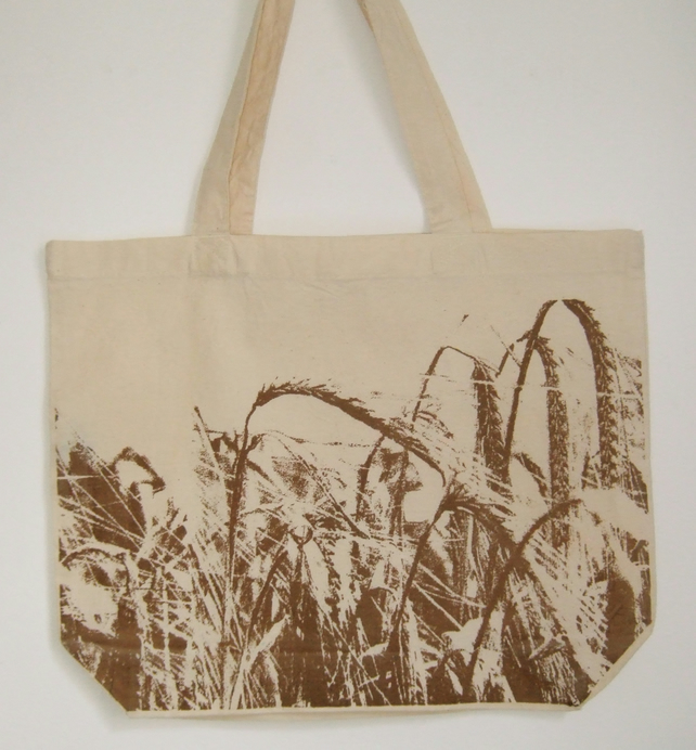 Harvest  printed organic cotton tote shopper bag field of crops print