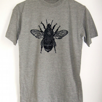 Bee Mens Printed T shirt grey with black print