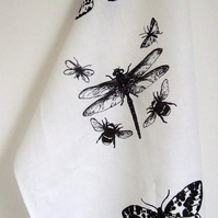 Dragonfly Insects  hand printed linen white Tea Towel Black and white