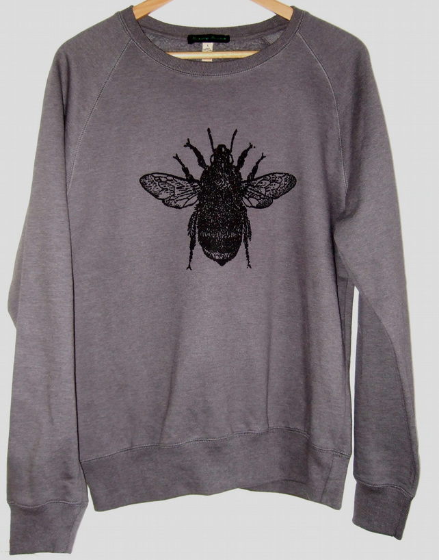 Bee unisex heather grey printed sweatshirt
