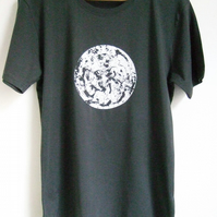 Polar Circle  Mens Printed organic cotton dark grey T shirt