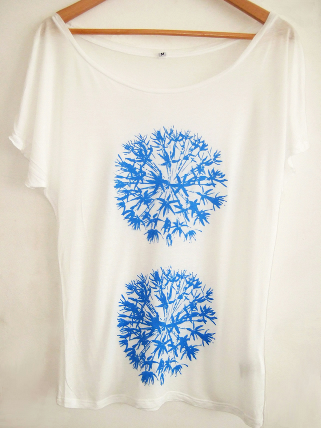 Allium blue flowers womens white Tencel hand  printed batwing  Tee