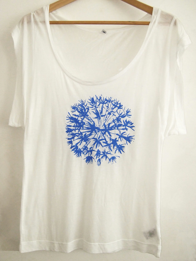 Allium flower womens white Tencel summer printed top