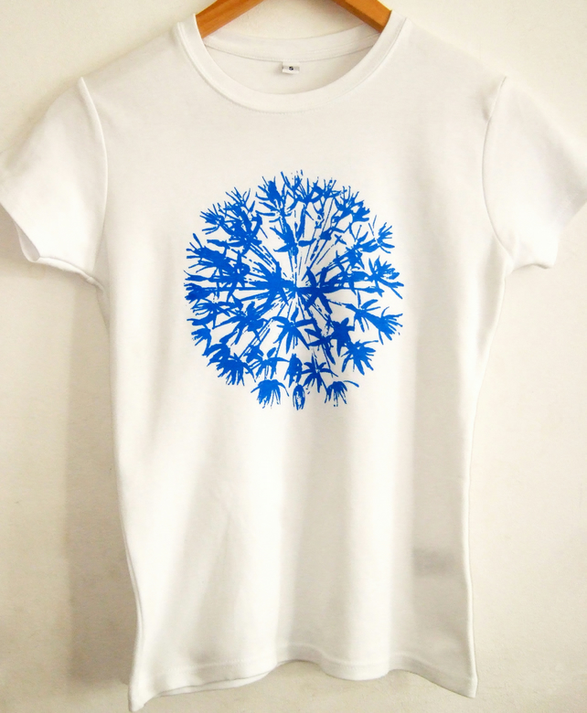 Allium flower womens white cotton fitted short sleeve T shirt