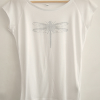 SALE Silver Dragonfly womens printed T shirt white bamboo and  organic cotton