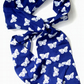 Moth pattern Hand printed cotton jersey scarf deep  blue with white moth print
