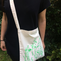 Meadow organic cotton tote bag bright green print