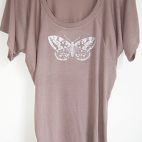 silver moth womens longer length drapy printed top