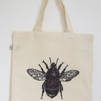 Bumble bee  natural organic cotton tote bag black bee print