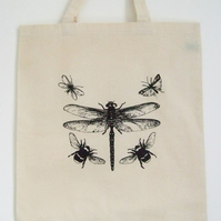 Dragonfly   natural cotton tote bag black insects print