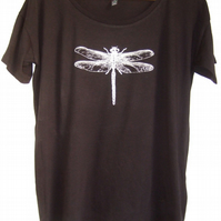 Silver Dragonfly Womens organic cotton Tencel  black T shirt oversize style