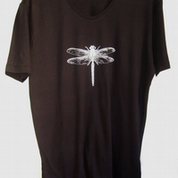 Dragonfly T shirt  black scoop neck t shirt short sleeve