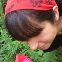 Moth hand printed red and black headband