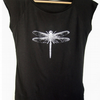 Dragonfly womens organic T shirt black bamboo and organic cotton