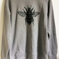 Bee mens unisex light grey raglan sweatshirt organic cotton