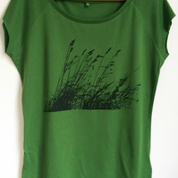 Wild grasses womens green bamboo viscose organic cotton printed eco T shirt