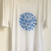 Allium blue flowers womens white Tencel  semi sheer summer T shirt