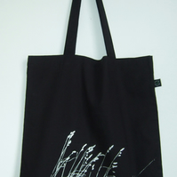 Wild grasses organic cotton tote bag black and silver hand printed