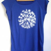 Womens blue eco T shirt bamboo viscose and organic cotton white allium print