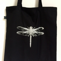 Dragonfly organic tote bag black and silver hand printed screen print