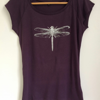 Dragonfly womens ethical T shirt eggplant  bamboo viscose and organic cotton