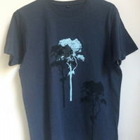 3 Trees Mens Denim Blue Fair Wear T shirt