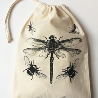Dragonfly bumblebees flying insects hand printed cotton drawstring bag