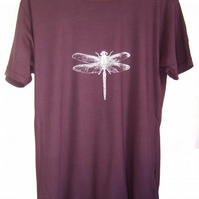 Dragonfly Mens bamboo ethical T shirt eggplant and silver
