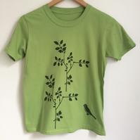 kids printed light greenT Shirt  plant and bird print