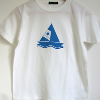 Sail boat childrens white cotton T shirt