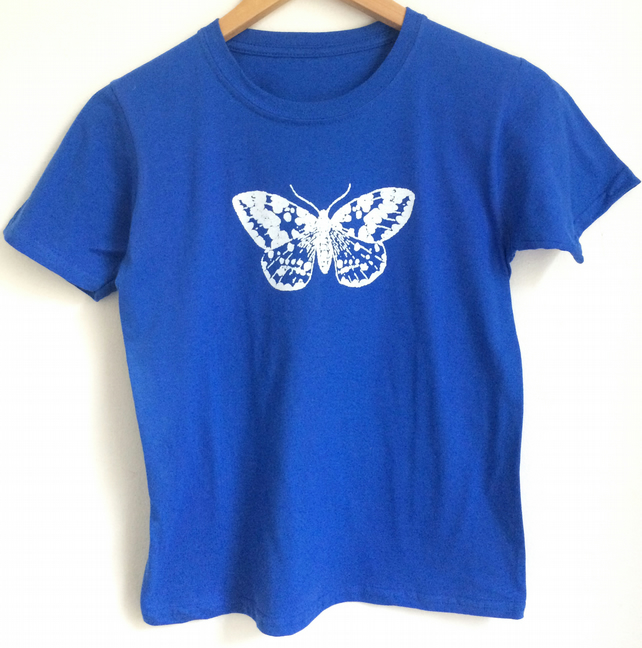 moth kids printed T Shirt bright blue