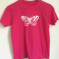 moth kids printed T Shirt bright pink