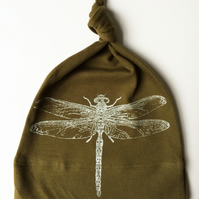 kids babies organic knot hat olive green with silver dragonfly print