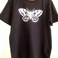 Moth kids organic T shirt navy blue and white